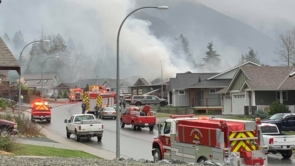 Firefighters were still on scene late Friday afternoon on Mountain View Drive in Lake Cowichan. (Carmen Duval)