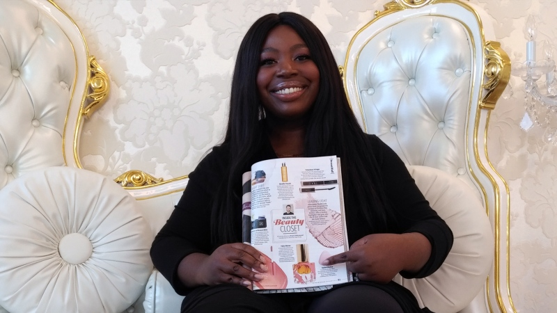 Akosua Nyarko shows off her product in Oprah Magazine.