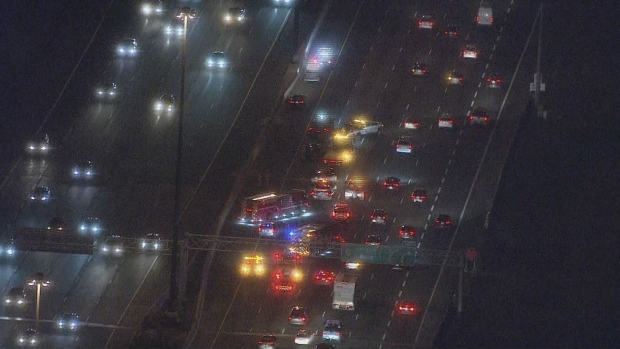 Emergency crews are on the scene of a collision on Highway 401 in Pickering. (Chopper 24)