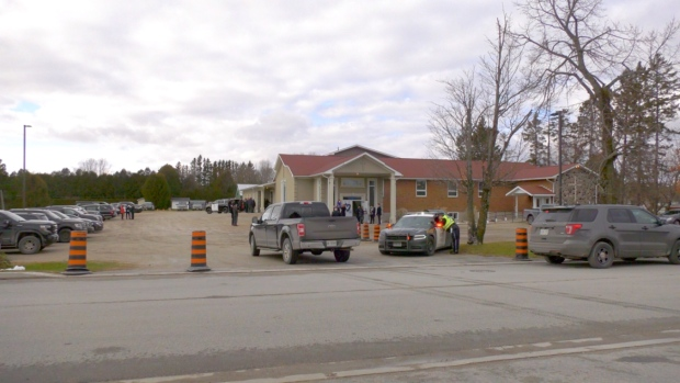 A visitation was held Friday in Mindemoya for Const. Marc Hovingh. A private funeral service will be held Saturday. (Ian Campbell/CTV News)