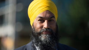 NDP leader Jagmeet Singh addresses the media in Vancouver Tuesday, August 18, 2020, following the resignation of the federal Finance Minister. THE CANADIAN PRESS/Jonathan Hayward