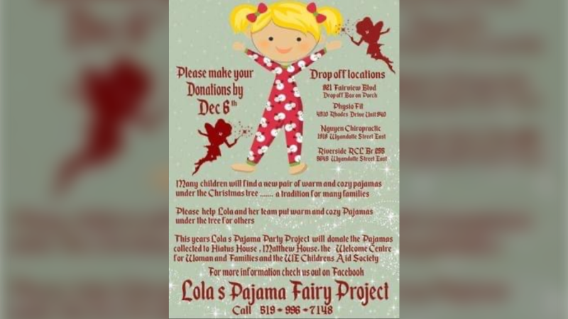 Lola's Pajama Fairy Project is collecting PJ sets at various locations in Windsor to be given to local charities. (courtesy Lola's Pajama Fairy Project)