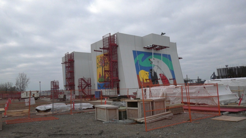 Murals shown at the Gordie Howe International Bridge Site in Windsor, Ont. on Friday, Nov. 27, 2020. (Chris Campbell/CTV Windsor)