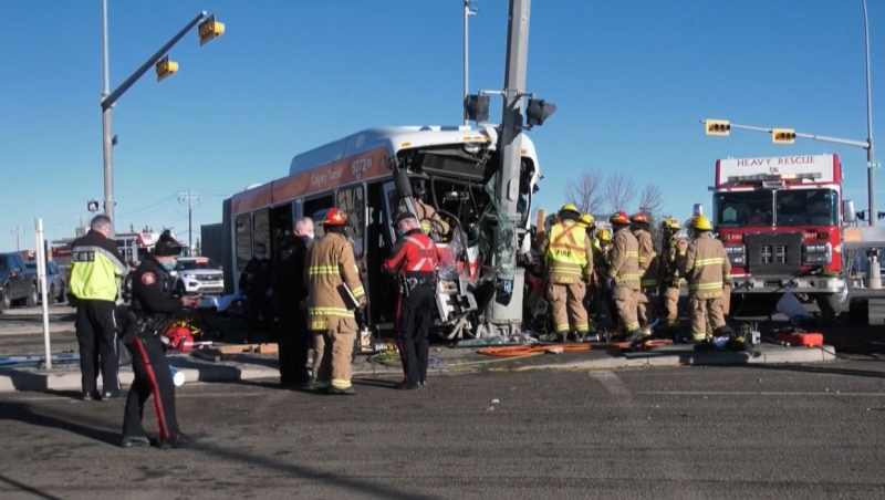 Four people, including a 52-year-old Calgary Transit bus driver, were sent to hospital after a crash Thursday morning.