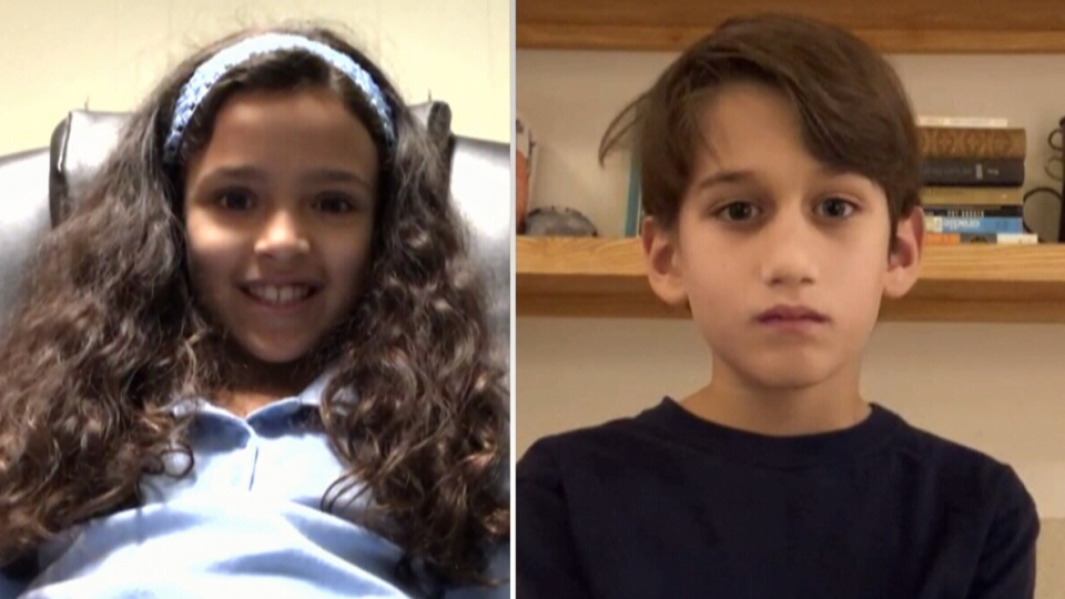 Sophia Mathew, 8, and Noah Chender, 9, are both finalists in the Spelling Bee of Canada, which is going virtual for the first time due to COVID-19.
