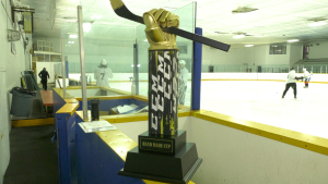 The Hand Made Hockey League's trophy, the Hand Made Cup, was, fittingly, made by hand by Hand. (Shaun Vardon / CTV News Ottawa)