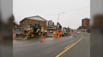 Water main break in Sudbury's south end on Saturday morning closes Regent Street's northbound curb lane between Bouchard Street and Arnold Street. Nov.28/20 (Jay Baxter/CTV News Northern Ontario)