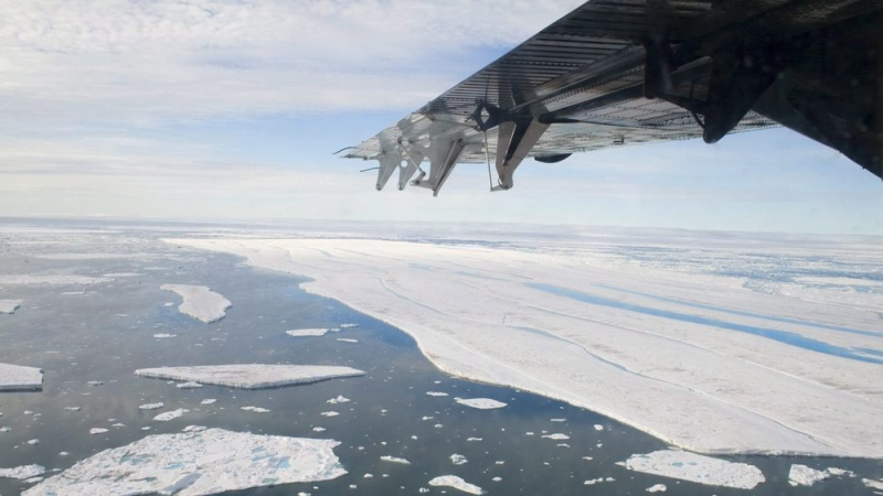 A four-square-kilometre pice of ice is shown drifting last week after it separated from the Ward Hunt Ice Shelf. THE CANADIAN PRESS/Sam Soja