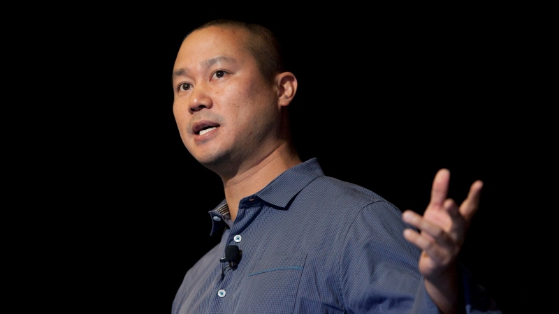 In this Sept. 30, 2013, file photo, Tony Hsieh speaks during a Grand Rapids Economic Club luncheon in Grand Rapids, Mich.(Cory Morse/The Grand Rapids Press via AP, File)