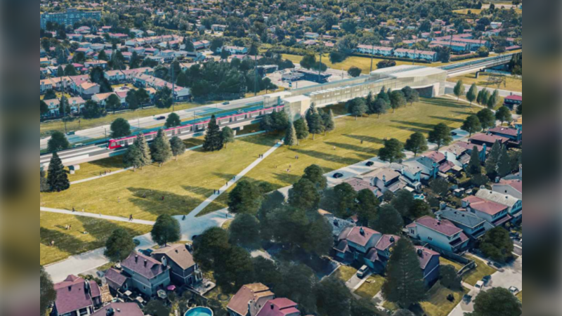 An artist's rendering of the proposed Knoxdale Station on Ottawa's future Stage 3 LRT line. Building the station would require the city to buy and demolish 120 homes in the Manor Village and Cheryl Gardens area along Woodroffe Avenue. (Photo: City of Ottawa)