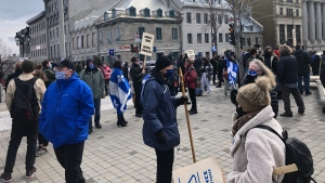 Around 300 young sovereigntists met at City Hall in Montreal Saturday to march for the French language they say is dwindling in the city.