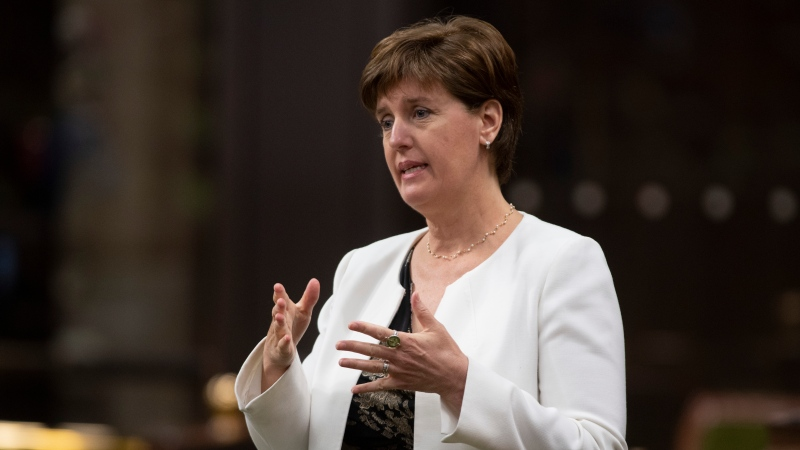 Minister of Agriculture and Agri-Food Minister Marie-Claude Bibeau rises during a sitting of the Special Committee on the COVID-19 Pandemic in the House of Commons, in Ottawa, June 3, 2020. THE CANADIAN PRESS/Adrian Wyld