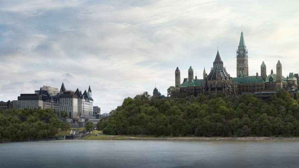 The proposed new addition to the Fairmont Chateau Laurier from the Canadian Museum of History. (Photo courtesy: Larco Investments)