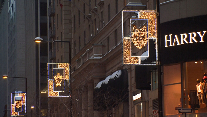 Montreal's Peel Street is illuminated this winter by the designs of three clans in the Kanien'kehá:ka, or Mohawk, nation.(CTV News)