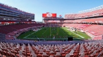 The 49ers and other teams may need to find a temporary new home after Santa Clara County on Saturday, Nov. 28, 2020, banned all contact sports from holding games and practices for the next three weeks. (AP Photo/Tony Avelar, File)