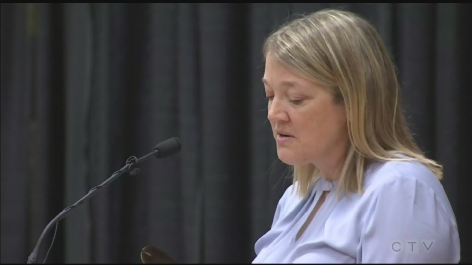 Hovingh's widow Lianne speaks at his funeral service. (CTV Northern Ontario)