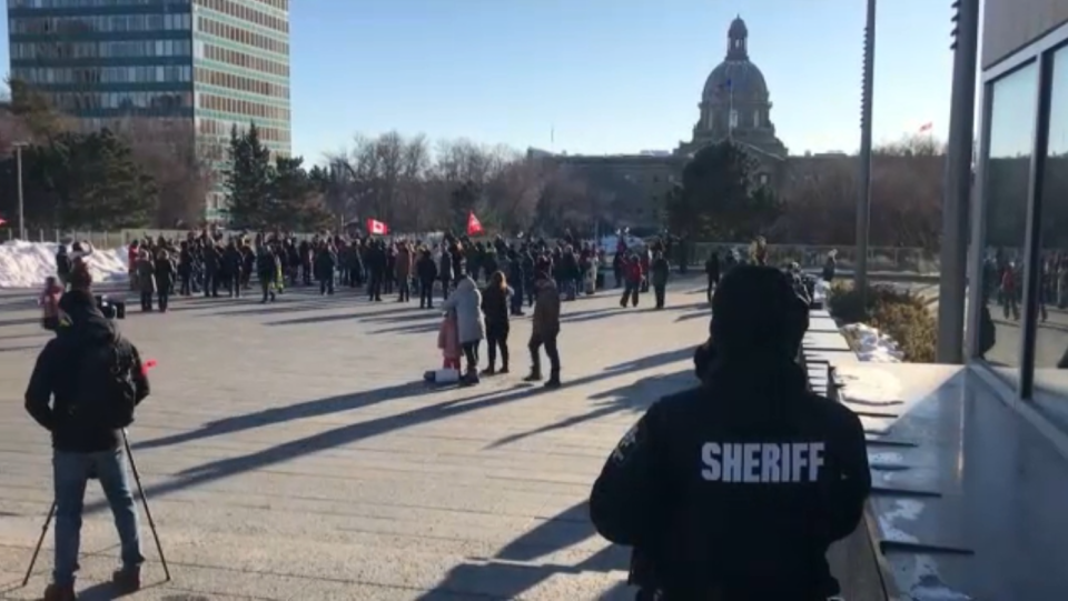 An anti-mask rally was held at the Alberta Legislature grounds on Nov. 28 in defiance of new provincial gathering orders.