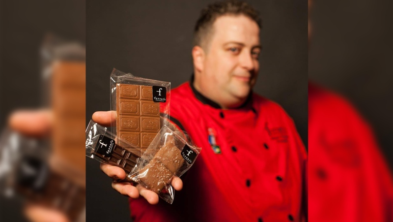 Marc Forrat displays his hand made chocolate bars (Source: Marc Forrat)