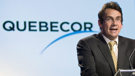 Quebecor president and CEO Pierre Karl Peladeau addresses the company's annual general meeting on Wednesday, May 13, 2009 in Montreal. (Paul Chiasson / THE CANADIAN PRESS)