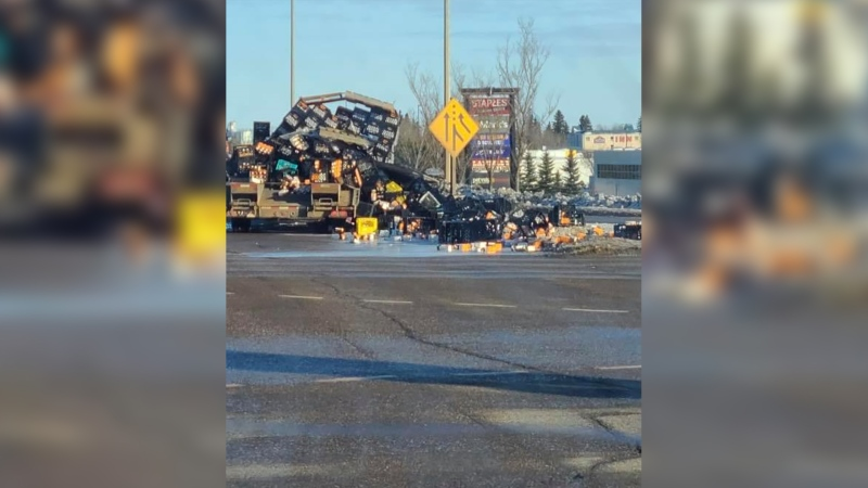 A truck spilled its load of milk in Fort Saskatchewan on Saturday. (Credit: Phyllis Lambert)