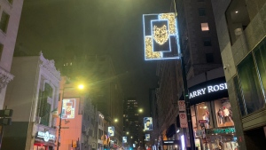 Peel St. in downtown Montreal is lit for the holidays with the bear, wolf and turtle: the three Kanien'keha:ka (Mohawk) clans of Kahnawake. (Daniel J. Rowe/CTV News)
