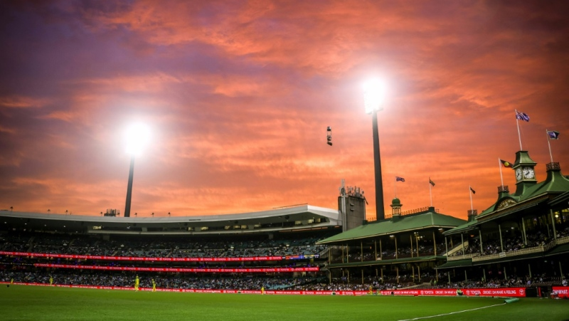 A fiery sunset over the Members' Stand during the one-day cricket match between India and Australia at the Sydney Cricket Ground in the sweltering city. (AFP)