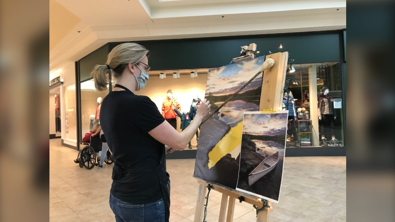 Marianne Vander Dussen set-up at the Northgate Mall for three days straight, painting for approximately 10 hours each day in order to complete an oil painting from start to finish. Nov. 29/20 (Alana Pickrell/CTV News Northern Ontario)