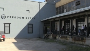 An outdoor spin class at Freedom Cycle in Kitchener. (Carmen Wong - CTV Kitchener) (July 25, 2020)