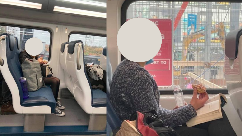 Train users having a snack in transit