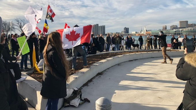 More than 50 people got together to protest COVID-19 regulations in downtown Windsor, Sunday November 29, 2020 (Source: Gord Bacon)