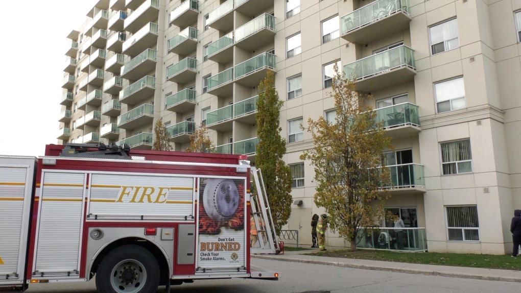 Fire crews seen at apartnment building