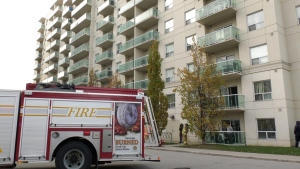 London Fire department respond to apartment fire on Kipps lane in London, seen on November 29, 2020 (Marek Sutherland / CTV News)