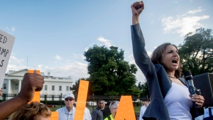 Center for American Progress President Neera Tanden speaks at a protest outside the White House, Tuesday, July 17, 2018, in Washington. (AP Photo/Andrew Harnik)