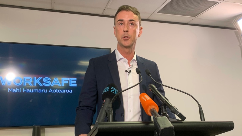 WorkSafe Chief Executive Phil Parkes talks to media in Wellington, New Zealand Monday, Nov. 30, 2020. (AP Photo/Nick Perry)