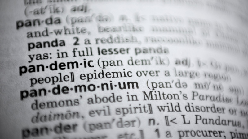 "In this Saturday, Nov. 21, 2020, photo the word pandemic is displayed in a dictionary in Washington. Merriam-Webster on Monday announced ""pandemic"" as its 2020 word of the year. (AP Photo/Jenny Kane)"