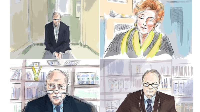 Accused in the April 2018 Toronto van attack Alex Minsassian, clockwise from top left, Justice Anne Molloy, psychologist Dr. John Bradford and defence lawyer Boris Bytensky are shown during a murder trial conducted via Zoom videoconference, in this courtroom sketch, Thursday, Nov. 26, 2020. THE CANADIAN PRESS/Alexandra Newbould