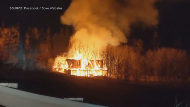 Crews battle barn fire north of Guelph on Sunday
