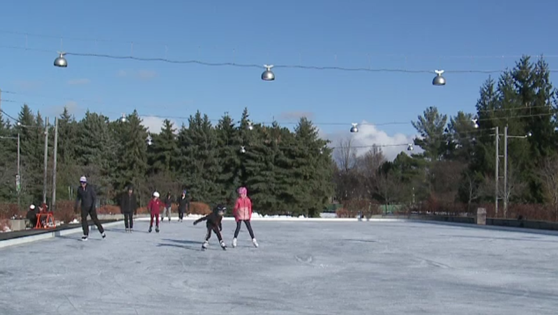 Skaters enjoy the rink at Lansdowne Park on Saturday, Nov. 29, 2020.