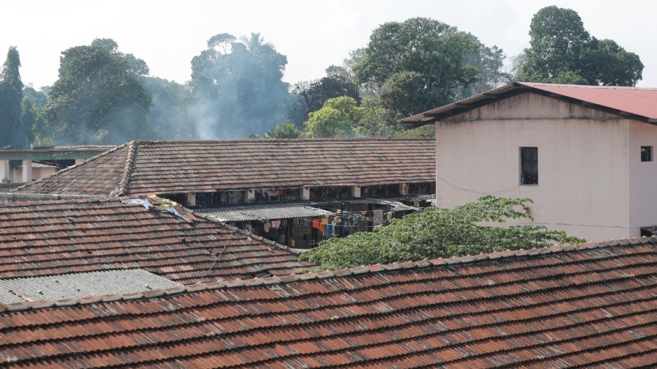 Smoke rises from a ward at the Mahara prison complex following overnight unrest in Mahara, outskirts of Colombo, Sri Lanka, on Nov. 30, 2020. (Eranga Jayawardena / AP)