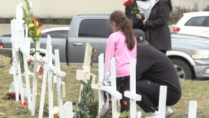 Sudbury families gather to remember those who died by drug overdose. Nov. 29/20 (Molly Frommer/CTV Northern Ontario)
