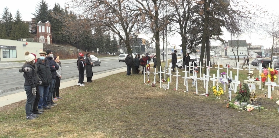 Dozens of crosses signify Sudburians lost to drug overdoses. Nov. 29/20 (Molly Frommer/CTV Northern Ontario)