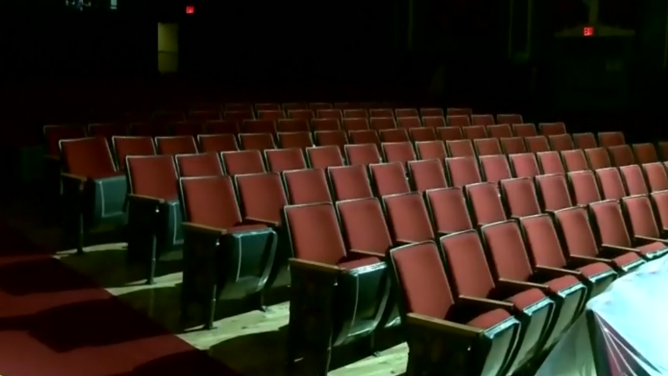 Rows of empty seats in Glace Bay's Savoy Theatre. It would usually be packed for the Christmas season.(Photo: Ryan MacDonald)