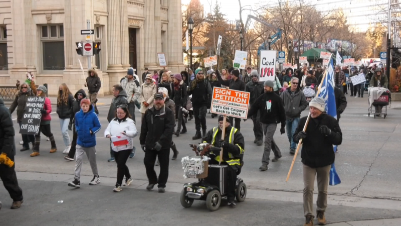 Walk for Freedom, protest, Calgary, anti-mask