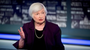 In this Aug. 14, 2019, file photo, former Fed Chair Janet Yellen speaks with Fox Business Network guest anchor Jon Hilsenrath in the Fox Washington bureau in Washington. President-elect Joe Biden is expected to name several of his most senior economic advisers in the coming days. Yellen could be one of those named. (AP Photo/Andrew Harnik, File)