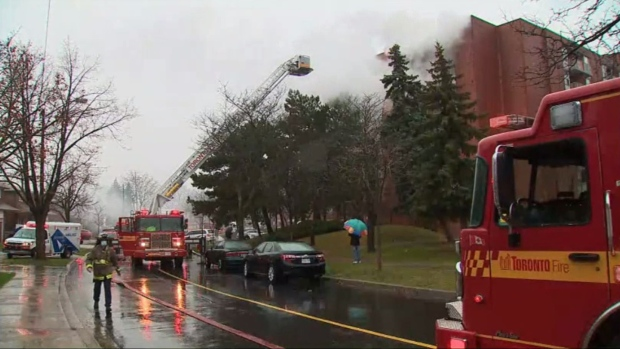 Woman rescued after fire at Etobicoke apartment building for seniors