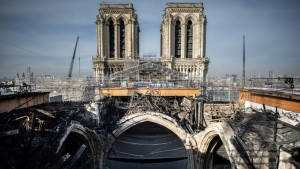 Scaffolding melted in the fire has finally been removed from Notre Dame's roof, allowing restoration work to begin. (AFP)