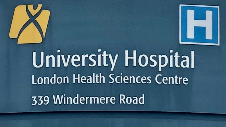 A sign for the London Health Sciences Centre's University Hospital in London, Ont. is seen Monday, Nov. 30, 2020. (Jim Knight / CTV News)