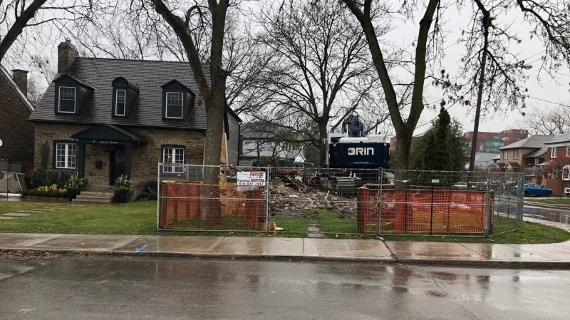 A property in Etobicoke that was set to be considered for heritage status was demolished Monday morning despite efforts by neighbours to delay the construction. (CTV News Toronto/Mike Walker)