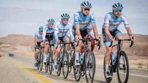 The Israel Start-Up Nation cycling team at a pre-season training camp in Israel in Dec., 2019. (THE CANADIAN PRESS / HO-Israel Start-Up Nation-Noa Arnon)