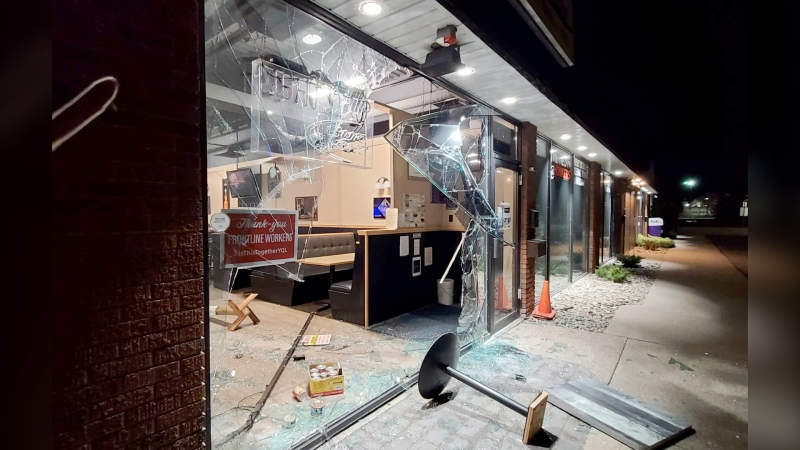 Thieves drove through the front of Honkers Pub to steal an ATM. (Submitted)